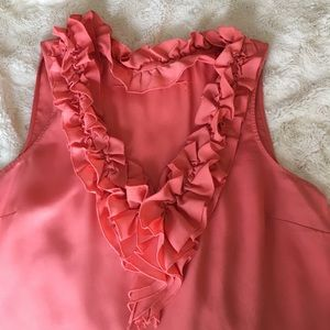 New York & Company Tops - New York and Co. Coral Top Ruffle Neckline Size XL